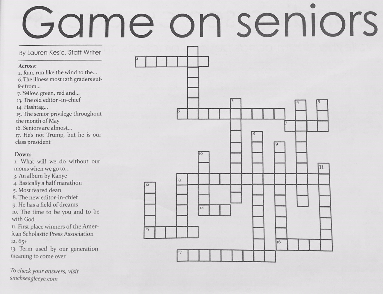 Answers to print issue 6: crossword puzzle