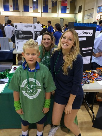Spreading the word - Junior Maddy Regan and her mother Christina Ramus recruit SMCHS students to join their club with some help from a child cancer survivor Aydan.