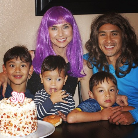 """The Cabildos may fit the stereotype of a """"perfect family,"""" but they know how to have some good-humored fun (especially in colored wigs)."""