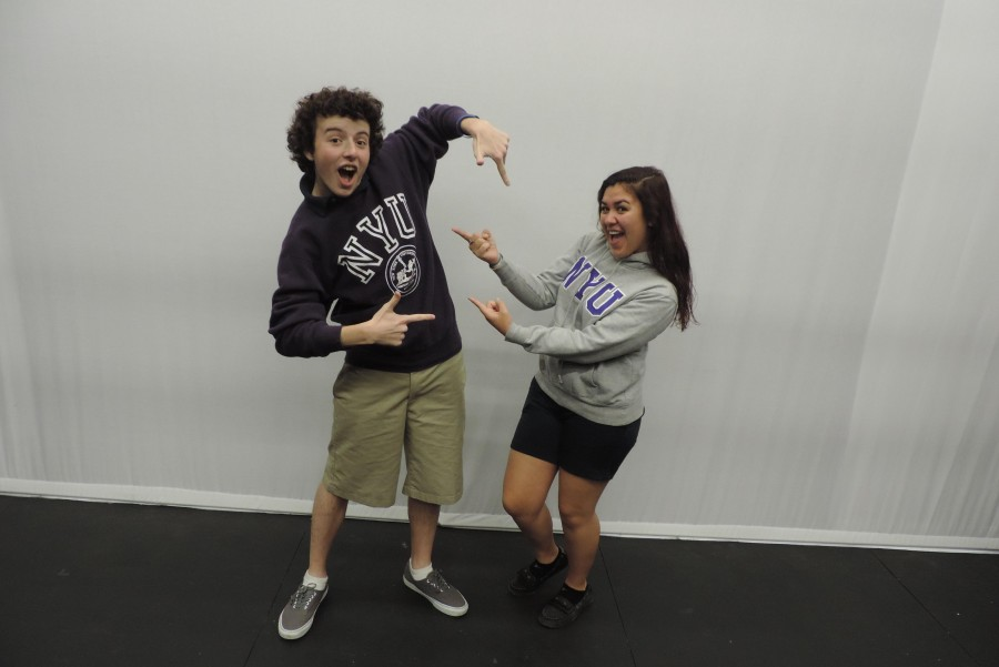 BFFs Trevor Lown and Andrea Martinez wear their NYU sweatshirts with pride.