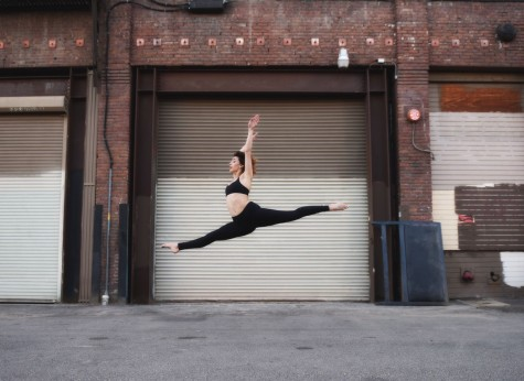 Senior Maeve Gerrity leaps through her last semester of high school at senior pictures.