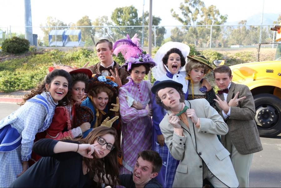 The Hello Dolly! cast takes a quick break to take some group photos.