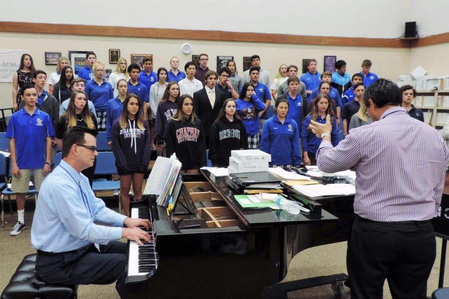 The chamber choir class practices its music piece for an upcoming service event.