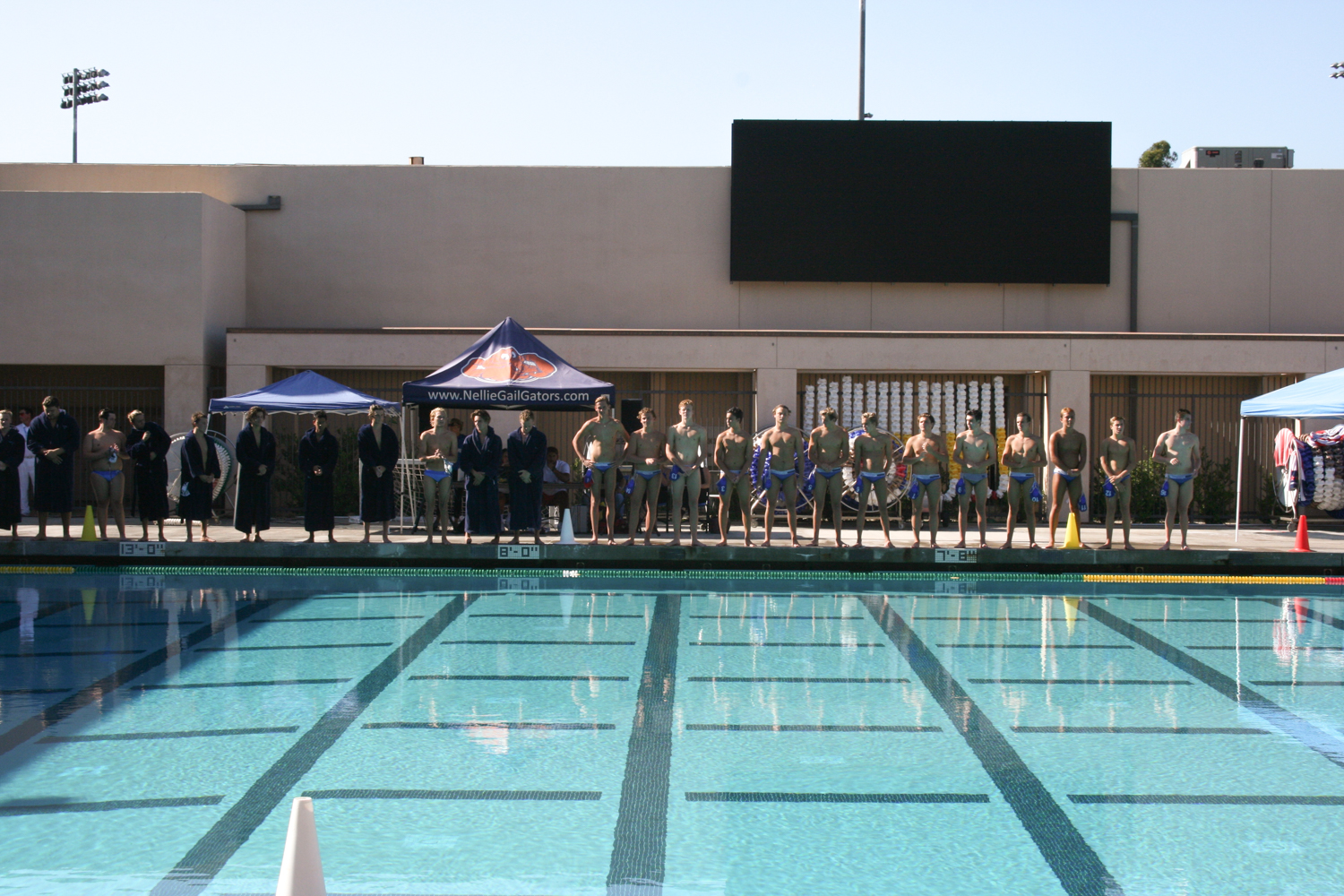 Against Dana Hills HS, the two teams line up to announce the players.