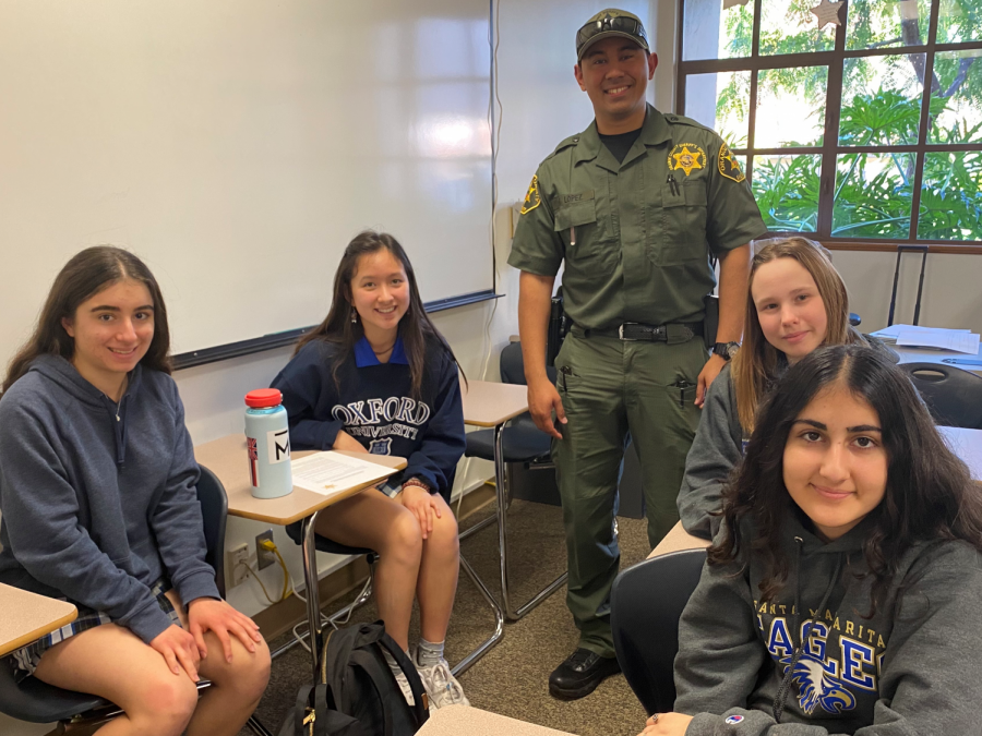 Students prepare for their presentation at St. John's Episcopal School as they learn from Deputy Lopez about the dangers of drug and alcohol abuse.