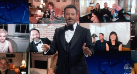 Jimmy Kimmel (center) hosts the 72nd Emmys with some technological flair amidst the Covid pandemic. This was Kimmel