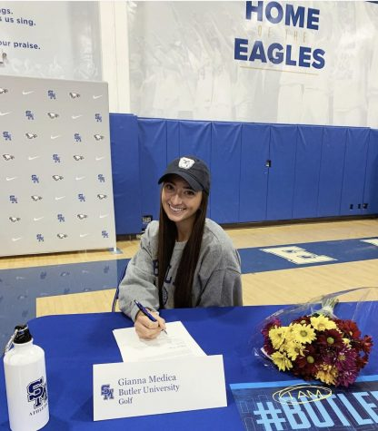 Medica signed her letter of intent to Butler University on Fall Signing Day.