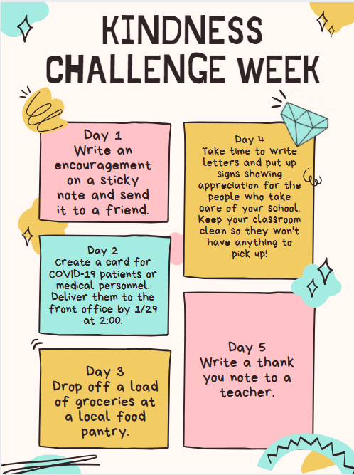 #Bekind- Follow these challenges each day this week. Kindness Challenge week was created in tandem with the Peer Mental Health and Kindness Presentation.