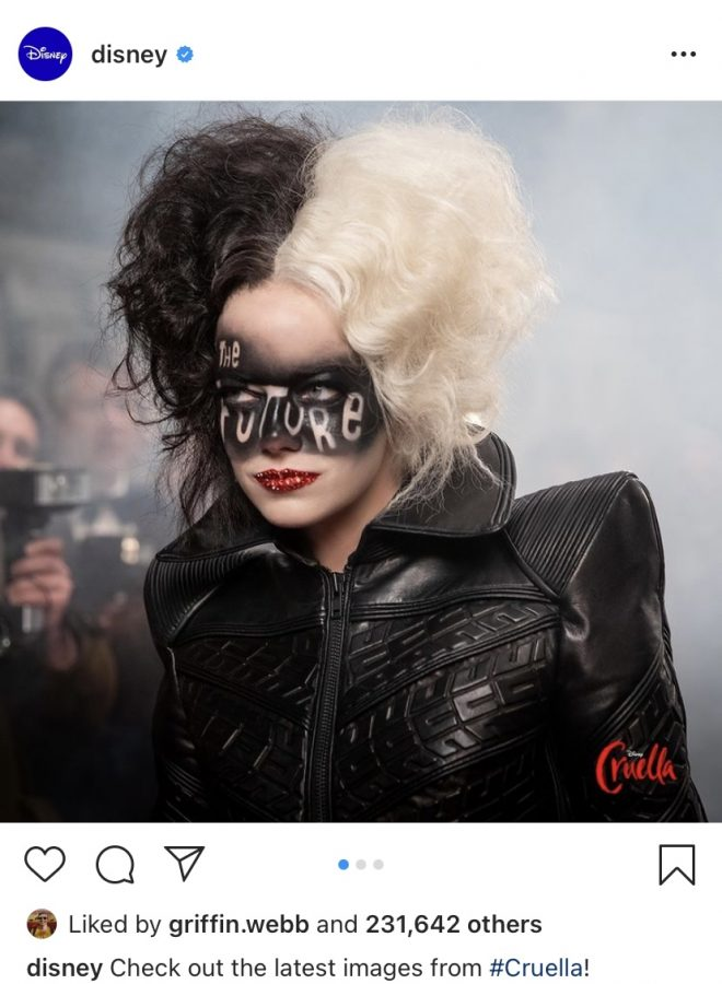 Disney intrigues fans by posting pictures and clips from set on their Instagram. Emma Stone is in costume of her new role Cruella.
