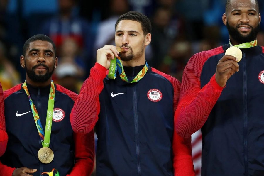 SM alumnus, Klay Thompson, accepting his gold medal at the 2016 Olympics.