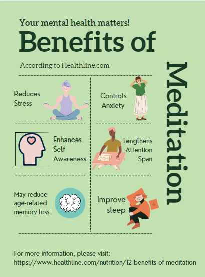 Meditation has numerous mental and physical health benefits. Healthline has outlined 12 benefits of meditation.