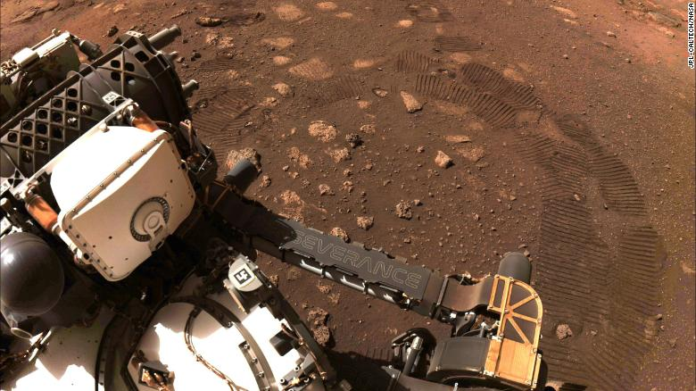 Perseverance%27s+photo+of+first+drive+on+mars.%0A%0APC%3A+NASA+Perseverance+Rover
