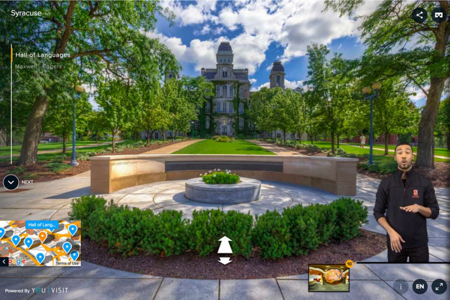 Photo by Syracuse University This is an example of a common platform for virtual college tours. According to the popular virtual campus production program YouVisit (as depicted above), around 1.4 million people watched one of their tours between March 13 through April 13 of 2020.