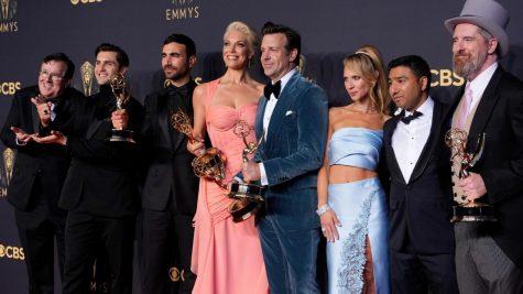 The Ted Lasso cast gathers around their leading man, Jason Sudeikis. They won